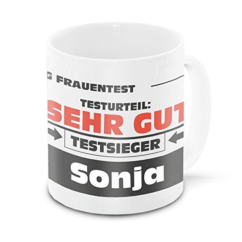 Namens-Tasse Sonja mit Motiv Stiftung Frauentest, weiss | Freundschafts-Tasse - Namens-Tasse