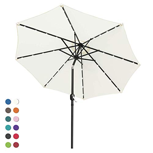 ABCCANOPY 9FT Patio Umbrella Ourdoor Solar Umbrella LED Umbrellas with 32LED Lights, Tilt and Crank Table Umbrellas for Garden, Deck, Backyard and Pool,12+Colors, (Light Beige)