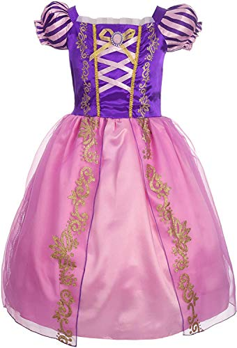 EMIN Rapunzel Disfraz Princesa Vestido de Fiesta niña de Disfraz Carnaval Morado Vestidos de Princesa para niña Vestido de Fiesta Elegante