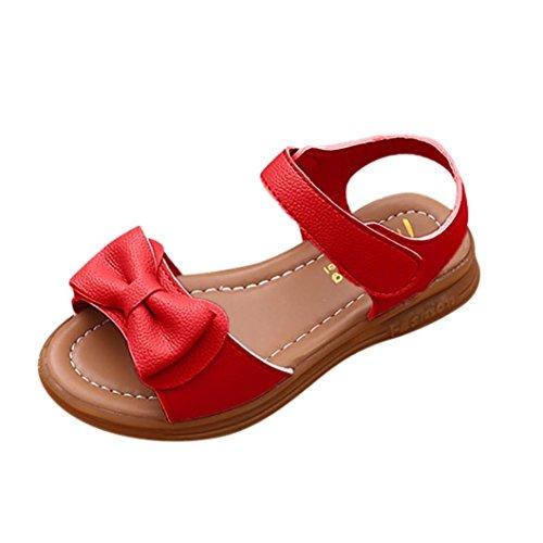Sandalias Niña Bebé, Verano Sandalias Bowknot para niñas pequeñas Zapatillas Casual para niña con Antideslizantes Sandalias Romanas Zapatos de Princesa Sandalia de Playa de Chica 22-37 (Rojo, 26)