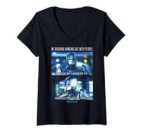 Women's Official RoboCop Me Avoiding Hanging Out With People V-Neck T-Shirt, S to 2XL