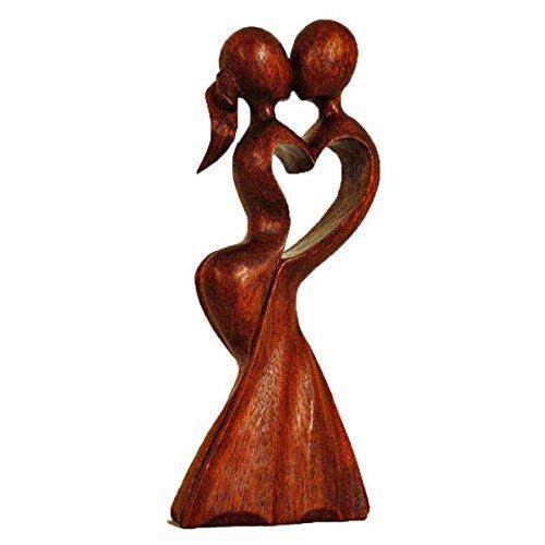 Simandra Holz Figur Skulptur Abstrakt Holzfigur Statue Afrika Asia Handarbeit Deko Hochzeit Größe 20 cm