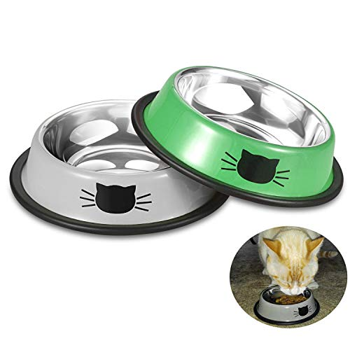 Comsmart Stainless Steel Pet Cat Bowl Puppy Dish Bowl with Cute Cats Painted Non-Skid for Small Dogs Cats (Grey/Green)
