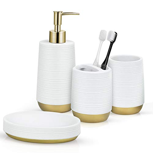 TONIAL Bathroom Accessories Set 4 Piece Resin Bathroom Decor Set with Soap/Lotion Dispenser, Toothbrush Holder, Soap Dish, and Tumbler, White