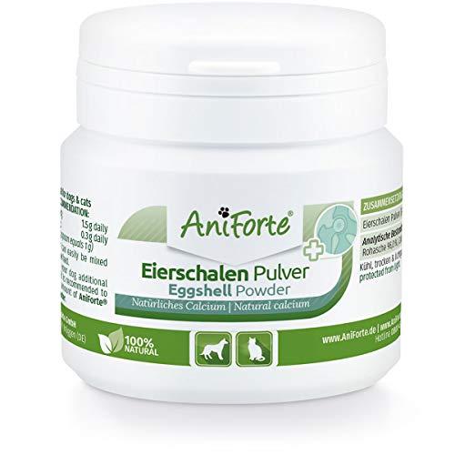 AniForte Eierschalenpulver Calcium für Hunde & Katzen 100g – Natürliche Kalzium Quelle, Unterstützt Knochen & Zähne, Eierschalen Pulver zum barfen, hohe Bio Verfügbarkeit, laborgeprüft