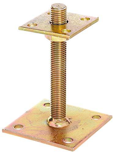 GAH-Alberts 218102 Pfostenträger | zum Aufschrauben | galvanisch gelb verzinkt | höhenverstellbar 30 - 150 mm | 70 x 70 mm