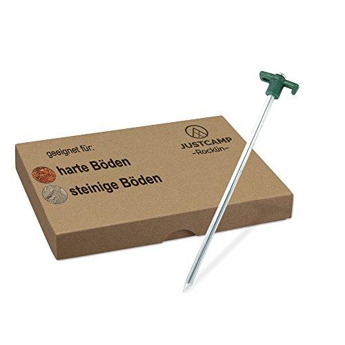 JUSTCAMP Stahlheringe Rocklin, Zeltheringe, Zeltnägel, für Felsböden, Stahl, Verzinkt- 25 cm [12 Stück]