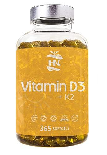 Vitamina D3 (5000 UI) + Vitamina K2-MK7 con Aceite de Oliva Extra Virgen - Favorece la función Inmunológica y ósea - Complemento Alimenticio de 365 Cápsulas