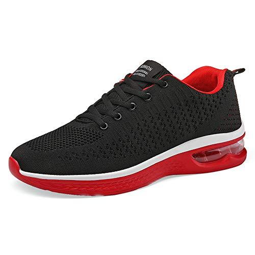 XPERSISTENCE Laufschuhe Herren AIR Atmungsaktiv Leicht rutschfeste Fitness Straßenlaufschuhe Sportschuhe Turnschuhe Mode Freizeitschuhe Sneaker Schwarz Rot 43 EU