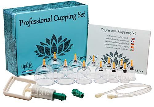 Uplife kinesisk koppterapiset, 12 vakuumluftsugkoppar med pumphandtag, anti-cellulit massage för rygg/nacksmärta viktminskning muskellättnad