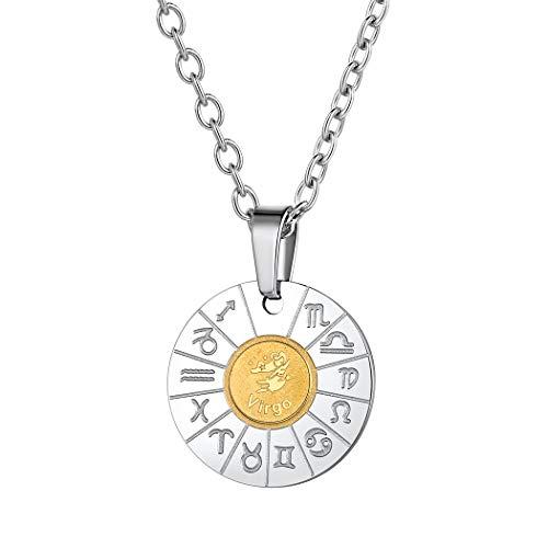 Suplight Collier für Damen Mädchen Horoskop Sternbilder Jungfrau Münzen Kette Edelstahl Sternzeichen Tierkreis Anhänger Halskette perfektes Zubehör Geschenk für Herren Jungen