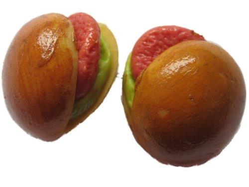Ohrringe Stecker Ohrstecker handgemachtes Sandwich Brot mit Salami und Salat *616*