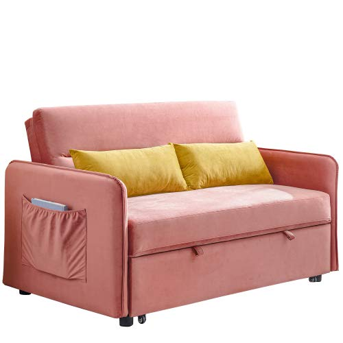 UNIROI Pink Soft Velvet Sleeper, 57' Compact Couch Sofa Bed with 2 Lumbar Pillow for Living Room & Apartment Cute