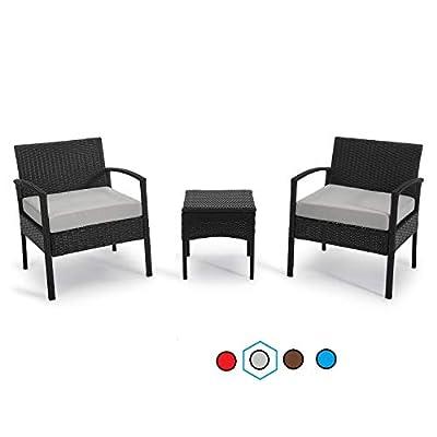 GREARDEN Patio 3 Pieces PE Rattan Wicker Chair Set, Garden Rattan Wicker Furniture Set Outdoor Indoor, 3 PCS Conversation Sets with Coffee Table for Balcony Backyard (Light Grey)
