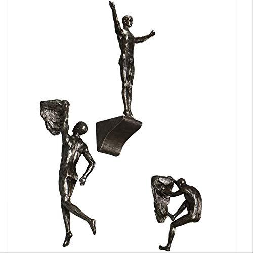 YUMUO Estatua de resina creativa escultura de roca hombres estatua Oranments muebles del hogar escultura decoración colgante de pared