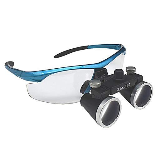 QX Lupa con luz lupas binoculares médicas quirúrgicas dentales 3,5 x 420 mm Cristal óptico, Lupa para Leer Fuentes pequeñas, Personas Mayores con discapacidad Visual