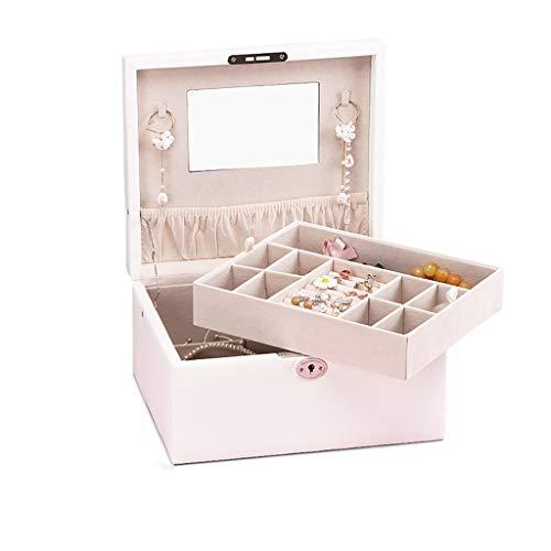 ZRL Caja organizadora con cerradura para joyas con espejo, para anillos, pendientes, caja de almacenamiento para mujer (color: blanco, tamaño: grande)