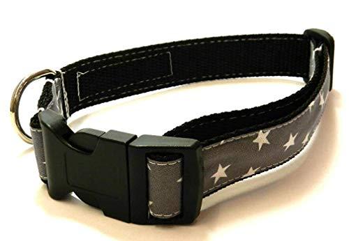 Hundehalsband schwarz mit - STERNE AUF GRAU - Breite: 2,5 cm - Länge verstellbar von ca. 33 cm bis ca. 57 cm - Größe: L - mit Steckschließe und D-Ring - Hunde-Halsband - Geschenk Geburtstag