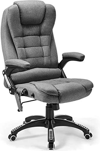 Kealive Massage Office Chair with Linen Fabric, High Back Executive Chair, Adjustable Tilt Angle Reclining Swivel Chair with Padding and Ergonomic Design for Lumbar Support, Grey
