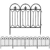 LUVODI Gartenzäune 60 x 63.5cm Beetzaun für Dekoration, 5 Stück Metall Zaun Vintage Rankhilfe Rankgitter Schwarz für Garten Hinterhof Terrasse