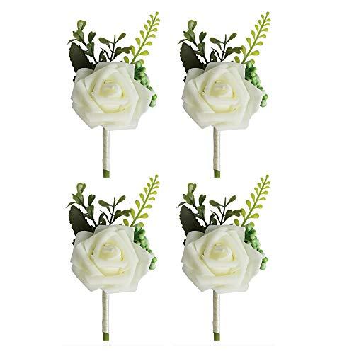 VOANZO 4PCS Boutonniere de boda Artificial PE Rose Flowers Ramilletes para la novia Novio Padrinos de boda Chica Ramo Broche 15x8x5cm (Blanco)