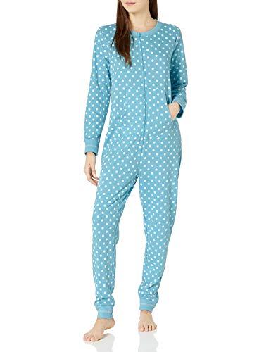 Amazon Brand - Mae Women's Sleepwear Vintage Thermal Loose Fit Onesie, Aqua Dots, S