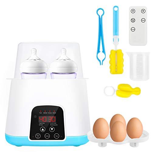 Scaldabiberon 6 in 1, doppio scaldabagni, sterilizzatore per biberon, con display a LED e timer, mantenimento del calore e scongelamento rapido (con telecomando)