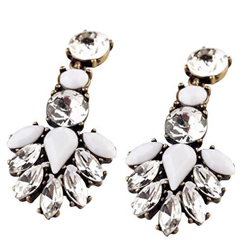 XIANGAI Elegant Jewelry White Leaf Drop Clear Crystal Stud Drop Dangle Earrings Women