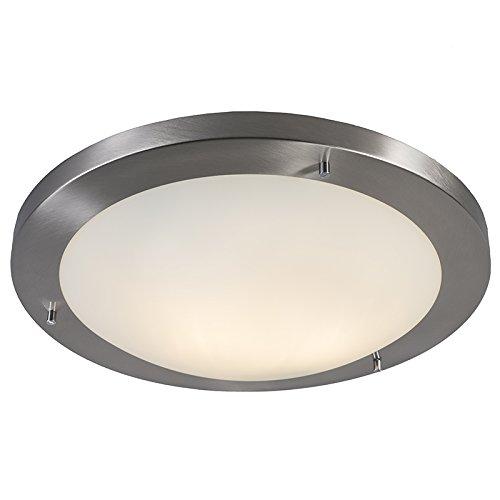 QAZQA Design Moderne plafonnière staal 41 cm IP44 - Yuma Staal Rond Geschikt voor LED Max. 2 x 40 Watt
