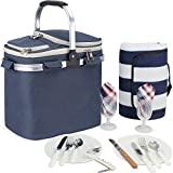 HappyPicnic 18L Picnic Basket for 2 with Waterproof Blanket and Full Cutlery Set Large Size Cooler Portable Collapsible Insulated Cooler Bag with Aluminium Handle Blue