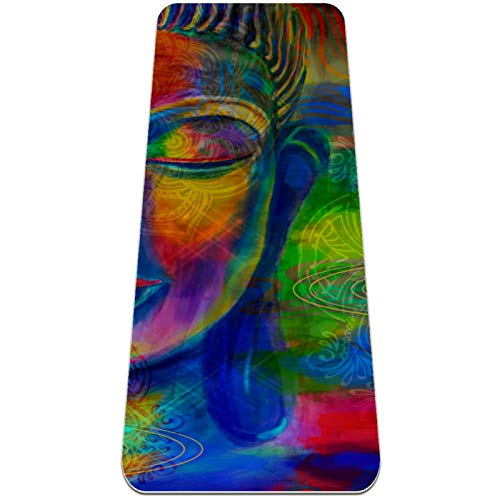 cjg@shop Yoga Mat Foldable 6mm Thick Non-Slip Travel Yoga Mat and Soft Lightweight Exercise Workout Mat for Yoga Pilates and Fitness(72' x 24' x 6mm) Buddha Illustration