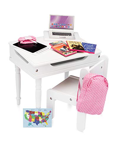 Playtime by Eimmie School Desk Set - 18 Inch Doll Furniture- Desk Toy with Accessories - 18 Doll Desk Toy Set - Classroom Desk- Doll School Toy Furniture