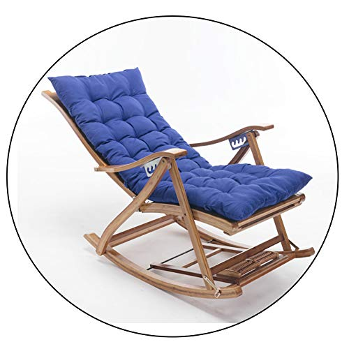 XEWNEGTZI Folding Recliner Adjustable Bamboo Rocking Chair, With Cotton Pad And Extended Telescopic Footrest, Portable Outdoor Garden Sun Lounger, Load 200kg(Color:Chair + blue cushion)