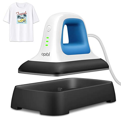 """Oprol Heat Press, 7"""" x 3.8"""" Heat Press Machine for T Shirts Shoes Bags Hats and Small HTV Vinyl Projects, Portable Mini Easy Heat Press Machine for Heating Transfer (Heat Press Mat Included)"""