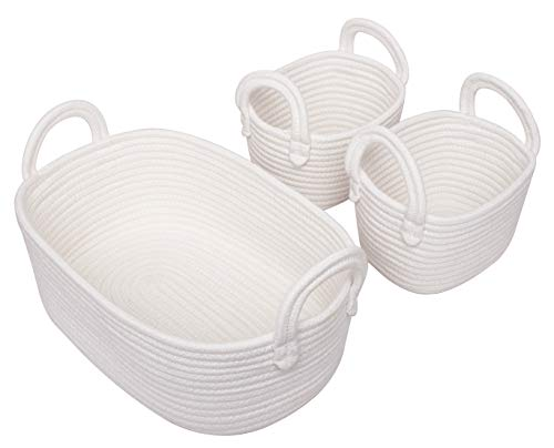 Woven Basket Set of 3 - White Rope Storage Baskets Small Nursery Baskets for Baby Kid Toys, Soft Cotton Basket Bins for Bathroom Bedroom Organizing, Off White
