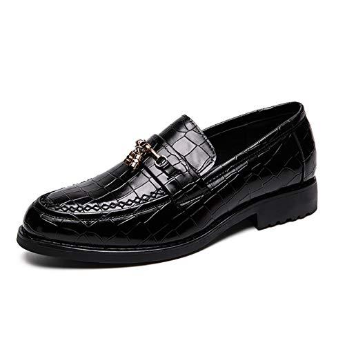 L-YIN Tassels de Metal para Hombres para Hombres Redondo Moc Toe Stitching Plaid En Relieve Color Sólido Sole Bloque Tacón Silencio Slip-On Zapatos Negro, Marrón (Color : Black, Size : 39 EU)