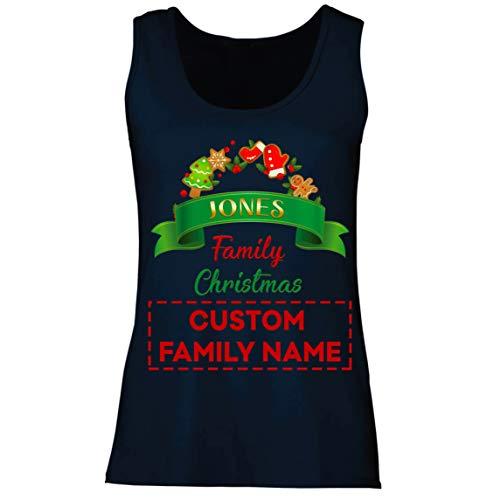 lepni.me Camisetas sin Mangas para Mujer Personalizado Familia Trajes de Fiesta de Navidad del 2020 a Quego (X-Large Azul Multicolor)
