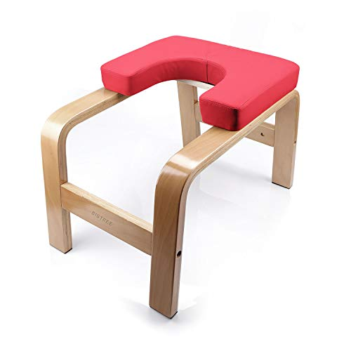 BIGTREE Yoga Fitness Exercise Headstand Bench Wood and PU Pad Steady Inversion Chair Red