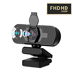 Webcam with Microphone for PC, 1080P HD Webcam with Privacy Cover, USB Web Camera for Laptop, Computer, Desktop, Plug and Play Camera for Streaming, Skype Conference, Video Calling, Studying, Gaming