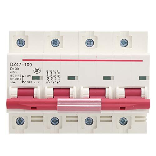 Interruptor de aire del disyuntor, disyuntor DZ47-100 4P D80~100A para protección de fugas en el hogar