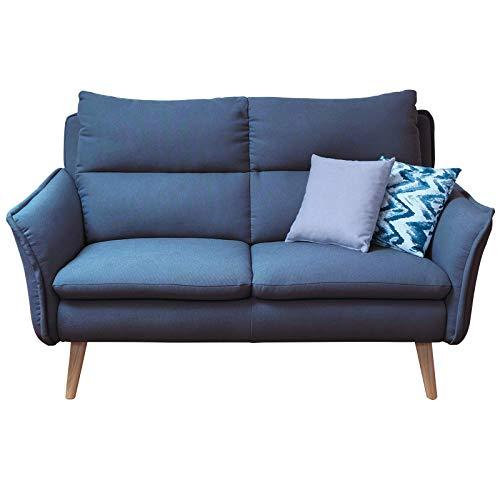 place to be. Polstersofa 2 Sitzer mit Armlehnen in Skandinavischem Design Blau Buche massiv