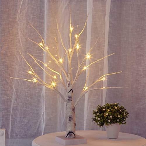 Aehma Baum Birke mit LED Beleuchtung für Weihnachten Fenster Tisch Deko künstlich Lichterbaum Lichterzweige Warmweiß Batteriebetrieb 45cm hoch