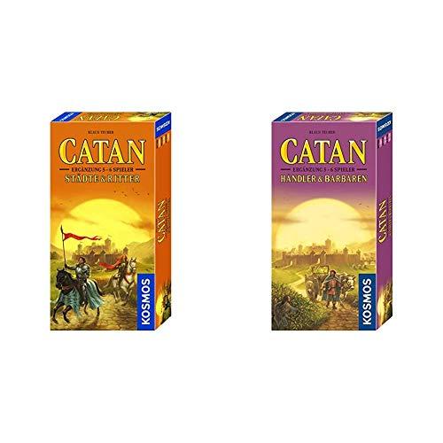 Kosmos CATAN - Städte & Ritter Ergänzung + CATAN - Händler und Barbaren Ergänzung für 5 - 6 Spieler, 2er Set, Bundle-Angebot, Strategiespiel
