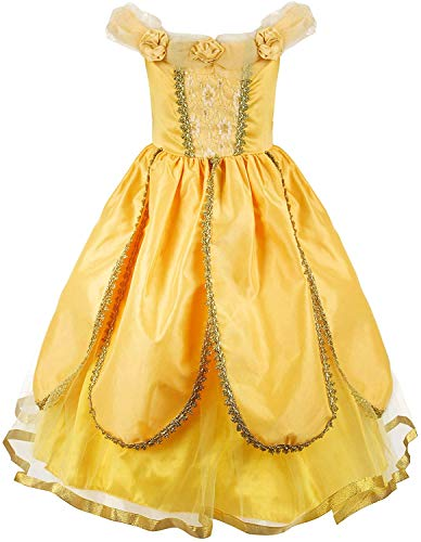 JerrisApparel Christmas Party Fancy Costume Deluxe Princess Dress Up for Girls (8, Yellow)