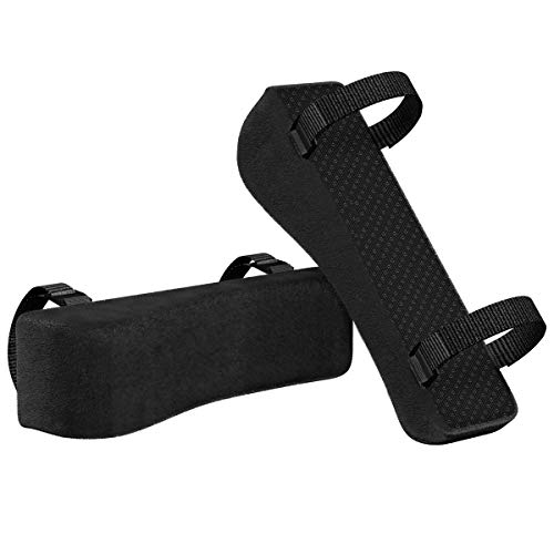 Office Chair Armrest Pads, Ergonomic Memory Foam Comfy Gaming Chair Arm Rest Covers for Elbows and Forearms Pressure Relief (Black)