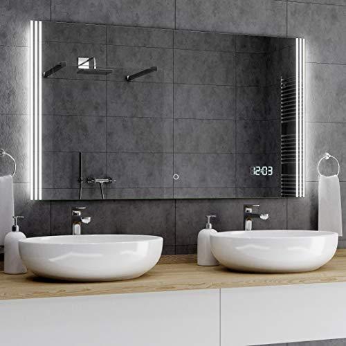 Alasta® Badkamerspiegel met Verlichting - 50x180 cm - Model Arica - Spiegel met Aanraaklichtschakelaar en LED Klok