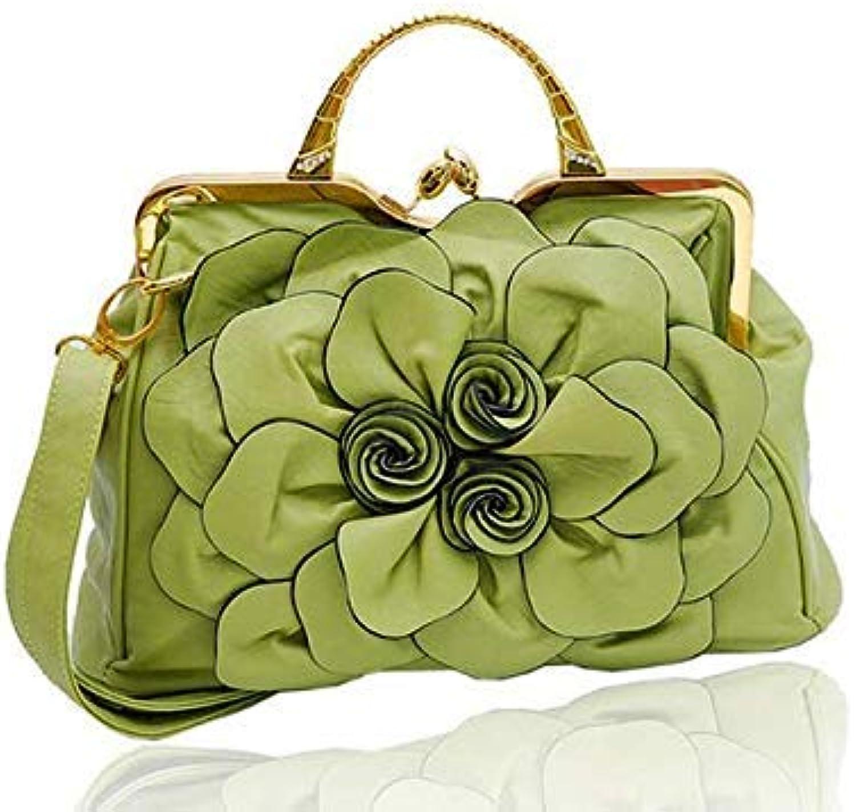 Bloomerang Ladsoul New Design Flower Women Bags Famous Brand Women Handbags Leather Messenger Bags Shoulder Bags Ladies' Tote hl8460 h color Light Green 37cm