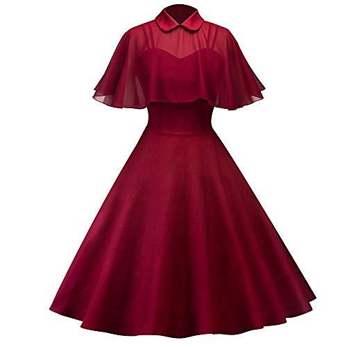 1950er Ärmellos Vintage Retro Spitzenkleid Rundhals Abendkleid Damen Ärmelloses Beiläufiges Strandkleid Sommerkleid Knielang Ausgestelltes Trägerkleid