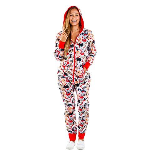 Xegood Pijamas una Pieza Familiares de Navidad,Pijama en Tejido Franela Polar Suave y cómodo para Toda la Familia,Excelente para Invierno Gatito