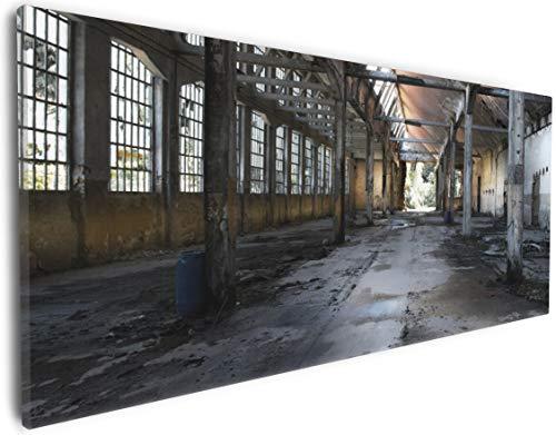 Wallario Leinwandbild Alte Industriehalle, leerstehend und einsam - 30 x 75 cm: Brillante lichtechte Farben, hochauflösend, verzugsfrei